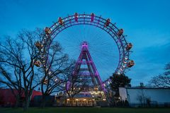 Vienna Giant Wheel Illuminated Stock Photo