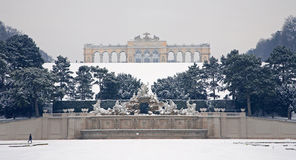 Vienna - Gloriette and Neptune fountain from Schonbrunn in winter Royalty Free Stock Image