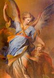 Vienna - Guardian angel with the child paint from side altar in baroque Jesuits church Stock Image