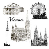 Vienna - hand drawn bildings collection Royalty Free Stock Image