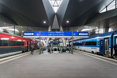 Vienna Hauptbahnhof train station platform. Vienna, Austria - December 2017: Vienna Hauptbahnhof train station platform. Vienna Hauptbahnhof is the main train Royalty Free Stock Image