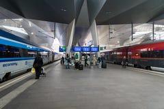 Vienna Hauptbahnhof train station platform. Vienna, Austria - December 2017: Vienna Hauptbahnhof train station platform. Vienna Hauptbahnhof is the main train Stock Image