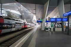 Vienna Hauptbahnhof train station platform. Vienna, Austria - December 2017: Vienna Hauptbahnhof train station platform. Vienna Hauptbahnhof is the main train Stock Images