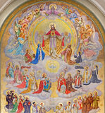 Vienna - Heart of Jesus with the angels and patrons of the land designed by Josef Magerle (1948) in Erloserkirche church. Stock Images