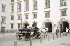 Vienna horse carriage. Horse car at the exterior of the Hofburg Palace in Vienna, Austria Stock Image