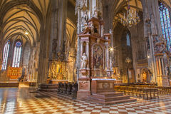 Vienna - Indoor of St. Stephens cathedral or Stephansdom. Look from side nave. Royalty Free Stock Image