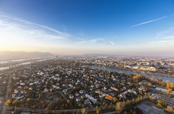 Vienna and its Danube River. With the Brigittenauer Bridge and one of the most interesting extensive public recreation area of Vienna called Danube Island as Stock Photos