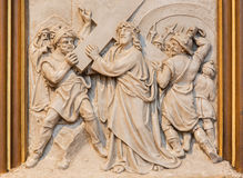 Vienna - Jesus carries his cross. Relief as one part of Cross way cycle in Sacre Coeur church Royalty Free Stock Images