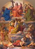Vienna - Jesus Christ and Last judgment scene by Leopold Kupelwieser from 1860 in nave of Altlerchenfelder church Stock Photo