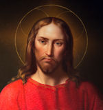 Vienna - Jesus Christ by Leopold Kupelwieser from 19. cent. on side altar of baroque st. Peter church royalty free stock photography