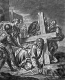 Vienna - The Jesus fall under cross old lithography from 18. cent. by Johannes Lorenz Haid in Salesianerkirche church Stock Photos