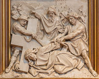 Vienna - Jesus fall under his cross. Relief as one part of Cross way cycle in Sacre Coeur church Royalty Free Stock Photo