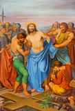 Vienna - Jesus Stripped of His Garments. One part of coss way from 19. cent. in gothic church Maria am Gestade Royalty Free Stock Photos