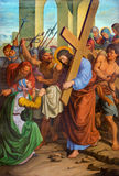 Vienna - Jesus and Veronica on the cross way. One part of cross way from 19. cent. in gothic church Maria am Gestade Royalty Free Stock Photo