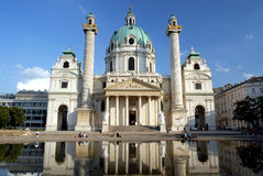 Vienna - Karlskirche Church. The Karlskirche church in Vienna built in 1722 with a 235ft high dome. One of the most famous baroque buildings in Europe. The Royalty Free Stock Image