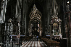 Vienna landmark inside. Stephansdom - gothic cathedral interior. Rich decorations of Vienna landmark Stock Images