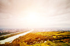 Vienna landscape with Danube river Stock Photography