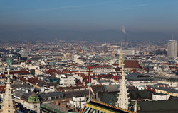 Vienna from the lookout tower Shtefl St. Stephen's Cathedral. Austria. Stock Photos