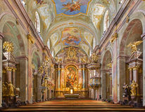 Vienna - Main altar of baroque st. Annes church with the paint and fresco by Daniel Gran. Stock Photo