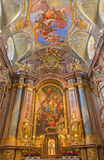 Vienna - Main altar of baroque st. Annes church with the paint and fresco by Daniel Gran. Royalty Free Stock Photo