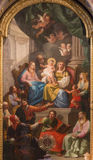 Vienna - Main altar of baroque st. Annes church with the paint and fresco by Daniel Gran form 17. cent. Stock Image