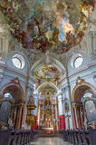 Vienna - Main nave of Baroque church Maria Treu. Church was build between years 1698 bis 1719 by plans of architect Lukas von Hild Royalty Free Stock Photo