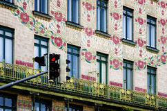 Vienna, Majolica Hause. The Majolica House Majolikahaus with its floral ornamentation near Naschmarkt in Vienna Austria; famous example of Jugendstil art nouveau stock image