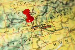 Vienna on a map Stock Photo