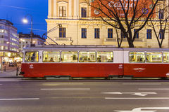 Historic tram operates in vienna in first district Royalty Free Stock Photo
