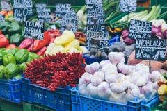 Vienna market stalls. Appetizing market stalls in Vienna`s famous Naschmarkt Royalty Free Stock Image