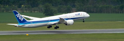 Boeing 787 Dreamliner taking off royalty free stock photo