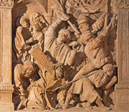 Vienna - Medieval reliefs of Jesus under cross scene from St. Stephens cathedral or Stephansdom. Stock Photography