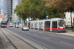 Vienna modern tram Royalty Free Stock Photography