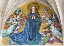 Vienna - Mosaic of Virgin Mary from main portal of gothic church Maria am Gestade Stock Photography