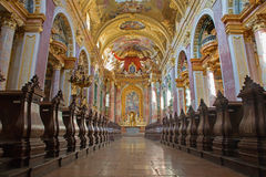 Vienna - Nave of baroque Jesuits church Royalty Free Stock Photo