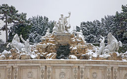 Vienna -  Neptune fountain from Schonbrunn in winter Royalty Free Stock Photography