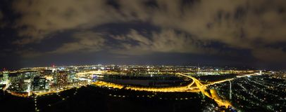 Vienna at night. Vienna, Austria. Panoramic view from the Donauturm Stock Photo