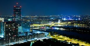 Vienna at Night. As seen from the Danube Tower Royalty Free Stock Images