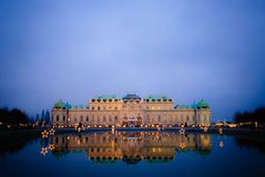 Vienna, Night, Austria, Belvedere Royalty Free Stock Photos