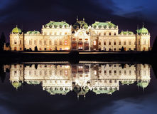 Vienna at night - Belvedere Palace, Austria Stock Photography