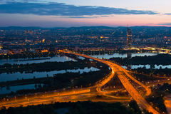 Vienna at night with Danube River Royalty Free Stock Photos