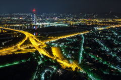 Vienna at night. Vienna by night landscape with city lights, aerial view Stock Images