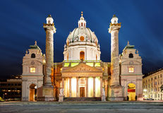 Vienna at night - St. Charles's Church - Austria Royalty Free Stock Photo
