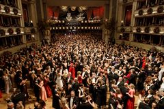 Vienna Opera Ball. VIENNA, AUSTRIA - Feb 09: Vienna Opera Ball is an annual Austrian society event which takes place in the building of the Vienna State Opera in stock photos