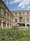 Vienna Opera House. Beautiful garden in the Opera House of Vienna, Austria, with some doves on the grass Royalty Free Stock Image