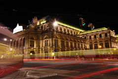 Vienna Opera house at night in Vienna, Austria Stock Images