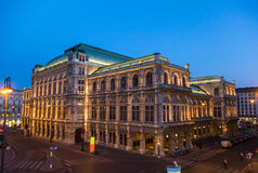 Vienna Opera. Night view of Vienna State Opera (Wiener Staatsoper) in Vienna, Austria Stock Photo