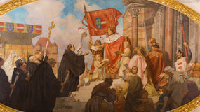Vienna - Paint of Benedictines for king from vestibule of Schottenkirche church Stock Images