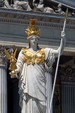 Vienna - Pallas Athene Statue. The Austrian Parliament Building (Hohes Haus). The building lies on the Ringstraße near the Hofburg Palace. The architect Royalty Free Stock Image
