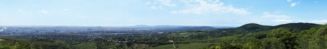 Vienna panorama. View from the hill stock images